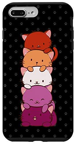 iPhone 7 Plus/8 Plus Orange Pink Lesbian Pride Flag Cute Kawaii Cat Case