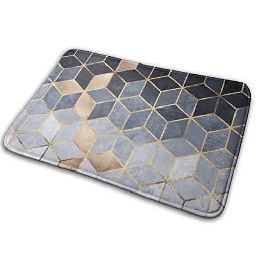 yting Navy Blue Gold Gradient Cubes Doormat Non Slip Floor Mat Indoor Outdoor Entrance Bedroom Door Mat Rug Home Decor 60x40 cm