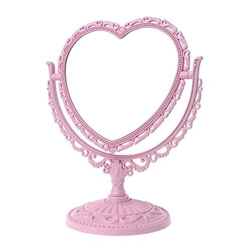 WBFN Miroirs de maquillage, 2 côtés en forme de coeur miroir de maquillage Rotatif support de table miroir compact Dresser 21x26cm (Color : Pink)