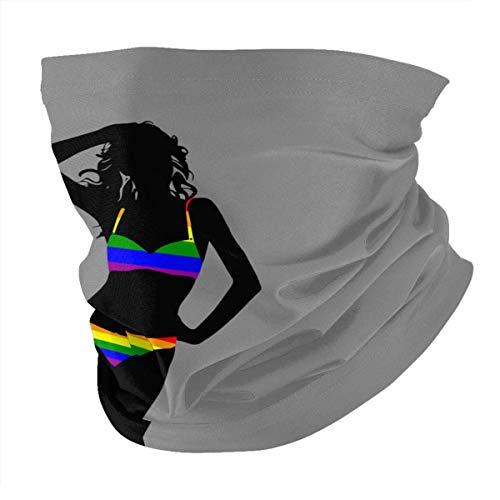 Tzshak Rainbow Bikini Woman Queer LGBT Pride Gay Pride Windbreak Headwear Diadema Bufanda Mascarilla Lavable Polvo Cuello Bandana Máscara Pasamontañas