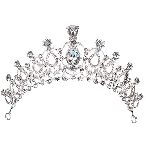 HENGSONG Tiara Cristal Couronne Strass pour Couronne De Mariée Proms De Mariage Concours Princesse Parties Anniversaire