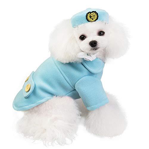 FLAdorepet Stewardess kostuum outfits voor kleine middelgrote hond huisdier wollen jas jas kleding met hond hoed in koud weer, XXL, Blauw