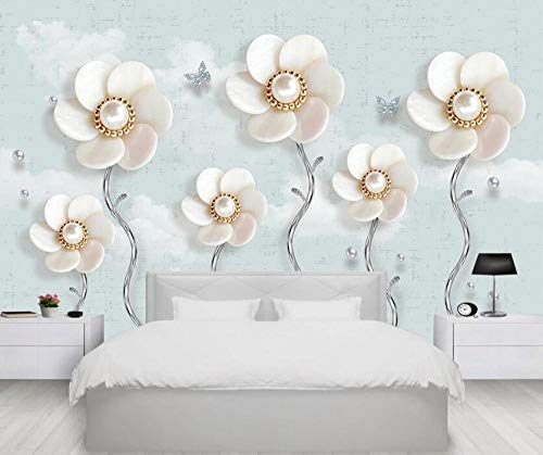 Joyas 3d flores joyas de perlas mariposa TV fondo wall-430 * 300