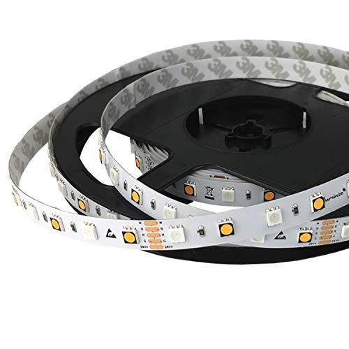 iluminize LED-Streifen RGB+W: sehr hochwertiger LED-Streifen RGB+W (2700K Ra 95) mit 60 LEDs pro Meter, hoch selektiert, 24V, 16,5W pro Meter (IP65 NANO Rolle 5m)