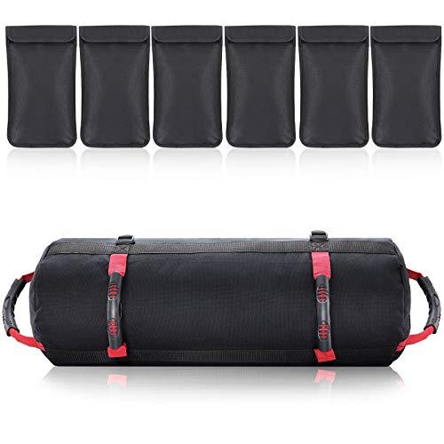 PELLOR Sandbag, Sacchetti di Sabbia Regolabili da 4.5-27kg, Power Bag Sacca per Pesi con 6 Sacche Interne per Esercizi di Allenamento a intensità Funzionale