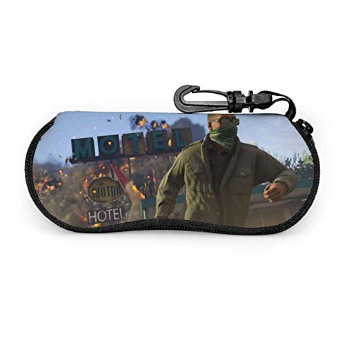 Hdadwy Estuche para anteojos, Grand Theft Franklin Auto V GTA5 Estuche para gafas de sol con cremallera de neopreno portátil con gancho Bolsa para anteojos para exteriores