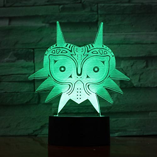 FaceToWind 3D Acryl Nachtlicht Legend of Zelda Figur Majoras Maske 3D Lava Lampe Creative 7 Farbwechsel LED Nachtlicht