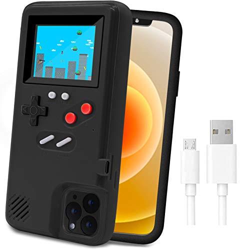 LucBuy Custodia da Gioco per iPhone,Custodia Protettiva Autoalimentata con 36 Giochi Piccoli,Display a Colori,Custodia per Videogiochi Antiurto per iPhone X/Xs/MAX/XR/6/6s/7/8Plus/11/12 Pro/Max/12Mini