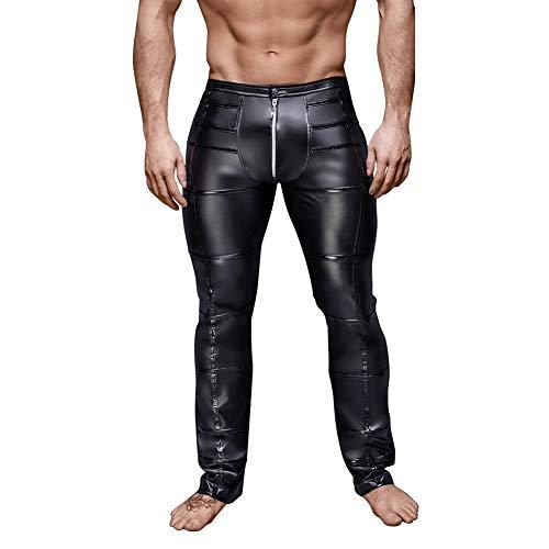 Herenbroek Leren Jeans Pu Leren Broek in Glanzende Wetlook Slim Fit Broek Met Ritssluiting,XXL