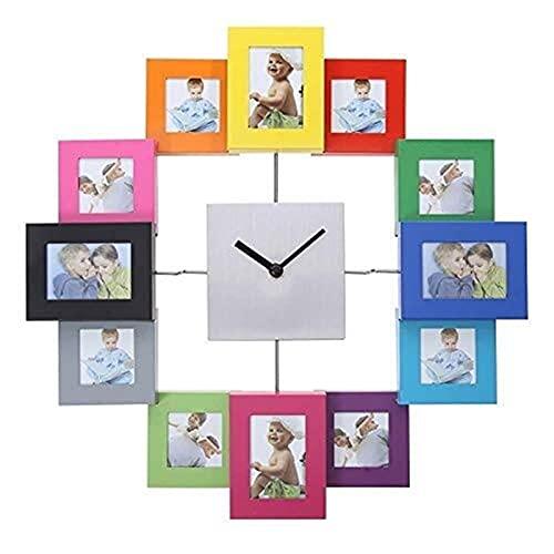 MGE UPS Systems Wall Clock,Wall Clock Photo Frame Clock Multi Picture Aperture Photo Frame Clock, Aluminum Silver.