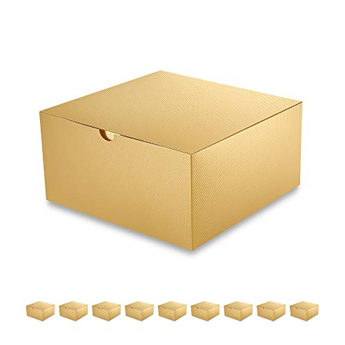 PACKQUEEN 10 Gift Boxes 8x8x4 inches, Gold Gift Boxes with Lids for Light Weight Gifts, Crafting, Cupcake Boxes, Glossy Gold, Textured Finish