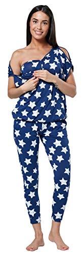 Happy Mama Damen Mutterschaft Stillen Spielanzug Trainingsanzug Set 1024p (Blaue Jeans mit weißen Sternen, 38, M)