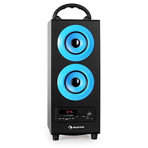 auna Beachboy - Bluetooth-Lautsprecher, Box, UKW- / MW-Radio, automatischer Sendersuchlauf, USB-Port/SD-Slot, LED-Display, AUX, Tragegriff, Akku, USB-Kabel, Fernbedienung, schwarz-blau