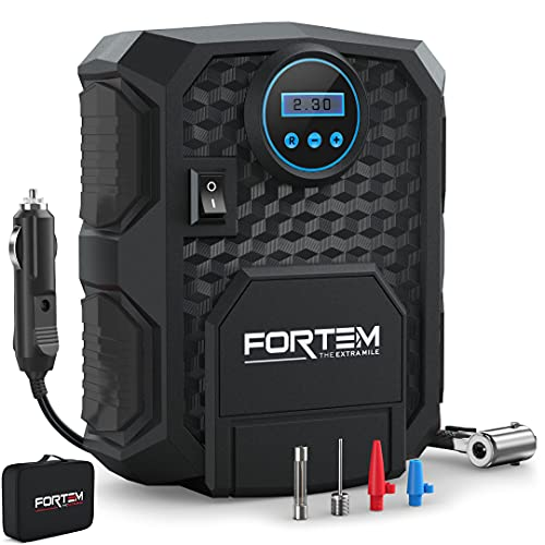 FORTEM Tire Inflator Portable Air Compressor, Bike Tire Pump, 12V Electric Air Pump for Car Tires and Bicycles w/LED Light, Digital Tire Pressure Gauge w/Auto Pump/Shut Off, Carrying Case (Black)