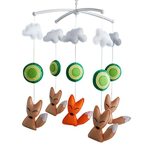 [Animal Friends-Foxes] Berceau de nursery, cadeau de bébé Musical Mobile