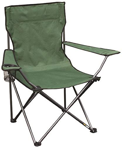 Ducomi Yosemite Folding Camping Chair Beach Chair Lightweight Folding Beach Chair with Armrests Drink Holder and Smartphone - Outdoor Armchair for Fishing and Camping with Portable Bag (Green)