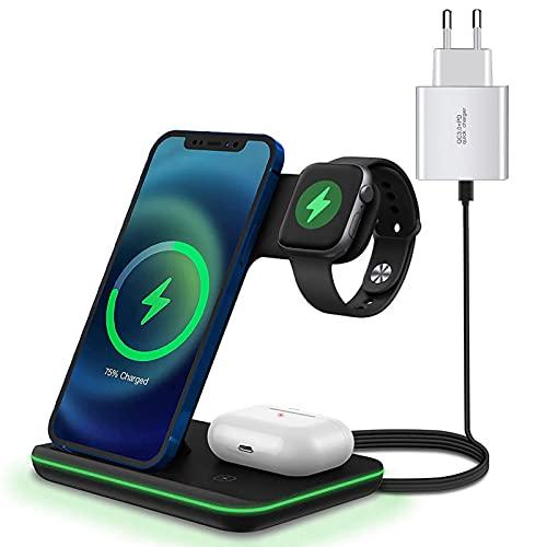 Kabelloses Laden,15W Fast Wireless Charger(QC 3.0 Adapteren thalten) Qi Induktive Ladestation Schnelles 3 in 1 Kabelloses Ladegerät für Apple Watch 7/6/5/4/3,iPhone 13/13 Pro/12/11/X/SE/und Airpods