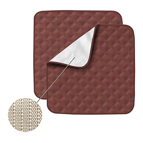 Non-Slip Absorbent Washable Incontinence Pad underpad Seat 4-Layer Design Chair Absorbent Pads Protection - for Seniors, Adult, Children, or Pet Underpad Protection - Set of 2 (Coffee)