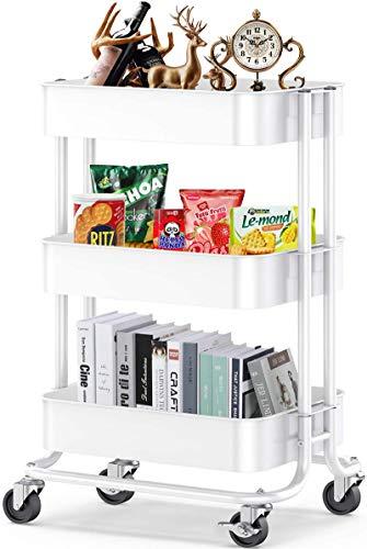 3-Tier Metal Rolling Utility Cart, Multifunction Storage Organization,...