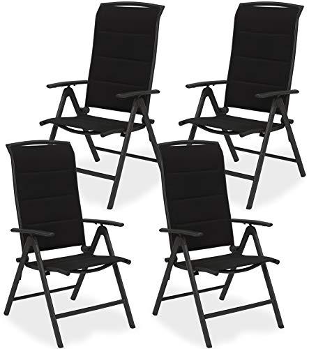 BRUBAKER 4er Set Gartenstühle Milano - Hochlehner Stühle klappbar - 8-Fach verstellbare Rückenlehnen - Klappstühle Aluminium - Wetterfest - Anthrazit