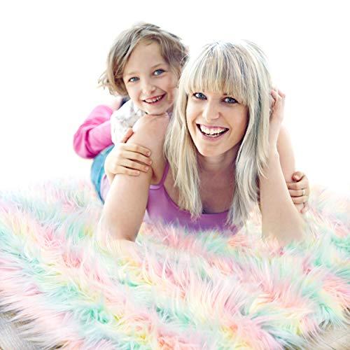 Fluffy Rainbow Rug Unicorn Carpet for Girls Bedroom - Soft Pastel Princess Castle Shag Rug, Playroom Decor, Small Colorful Furry Chair Throw, 2x3 Feet