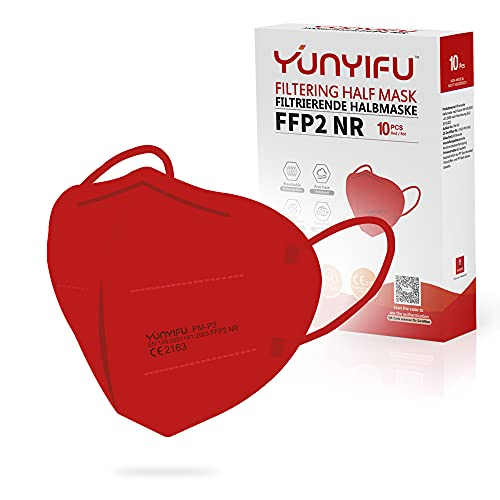 YUNYIFU Particulate Respirator FFP2 Masks - Individually Paper-Wrapped CE Certified 5-Layer Protective FFP2 NR Face Mask With Improved Comfort, Breathing and Adjustable Ear Loops - Pack of 10