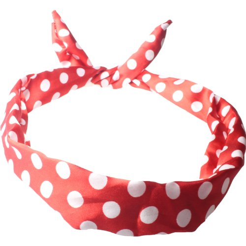 Wire Headband Retro Wired Head Scarf Rockabilly Wire Hair Band Head Wrap Vintage Red Large Polka by Cherry-on-Top