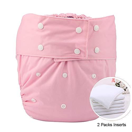 Jolie Diaper Couvre-Couche en Tissu Adulte Incontinence urinaire Nappy Fermeture à Pression Insert réutilisable Jeu ABDL pour Les Personnes âgées Teen (2 Packs Inserts),Pink