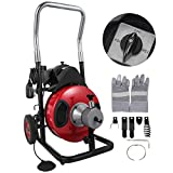 VEVOR 50 Feet by 1/2 Inch Electric Drain Auger with 4 Cutter & Foot Switch Drain Cleaner Machine Sewer Snake Drill Drain Auger Cleaner for 1' to 4' Pipes (50 Ft x 1/2 Inch with Wheel)