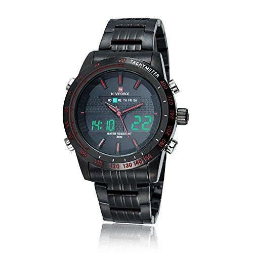 Naviforce Reloj para hombre, analógico, digital, pulsera de acero inoxidable multifunción, rojo