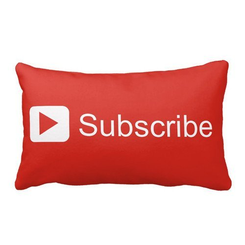 Youtube Subscribe Pillow Personalized 30x20 Inch Square Cotton Throw Pillow Case Decor Cushion Covers by Dear Deer