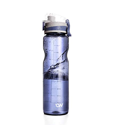 Sport Water Bottle, (THRLEGBIRD) Gym Best Water Bottle 32 Oz Large Capacity Lightweight and Portable Flip Top Leak Proof Lid with Scale Marks for Men Women (Blue, 32oz)