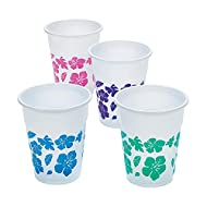 Fun Express - Hibiscus Design Disposable Cups (50pc) for Summer - Party Supplies - Drinkware - Disposable Cups - Summer - 50 Pieces