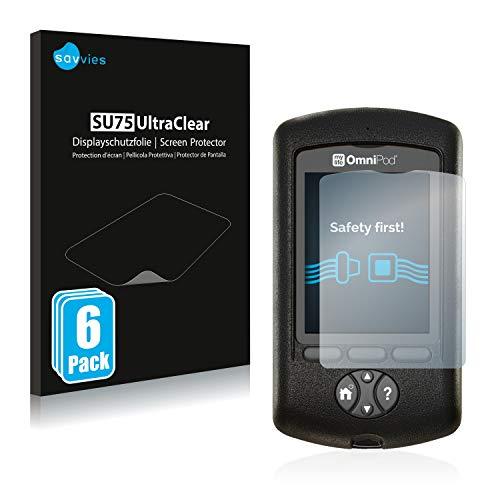 Savvies 6X Schutzfolie kompatibel mit Mylife Omnipod Displayschutz-Folie Ultra-transparent
