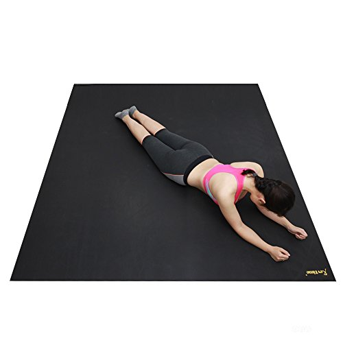 """RevTime Extra Large Exercise Mat 8 x 6 Feet (96""""x 72"""") Much Durable for Home Workout Gym Rubber Floor Mat, Best for Carpet & Hardwood Floor, Black"""