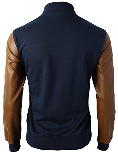 H2H Mens Slim Fit Varsity Baseball Bomber Jacket Of Various Styles,Kmoja0132-navy,US L (Asia XL)