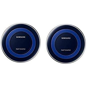 Samsung Qi Certified Fast Charge Wireless Charger Pad (Includes Wall Charger) Universally compatible with all Qi enabled phones - Black/Blue (2 PACK)