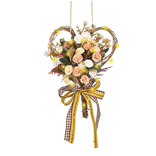 Kacniohen Artificial Flower Heart Wreath Simulation Carnation Garland Wall Hanging with LED Light String for Decoration Champagne Durable