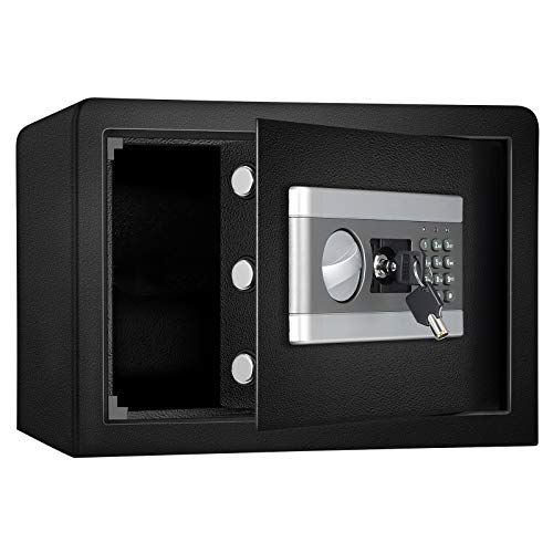 Fireproof and Waterproof Safe Cabinet Security Box, Digital Combination Lock Safe with Keypad LED Indicator, for Cash Money Jewelry Guns Cabinet (Black) (0.8cub)