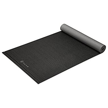 Gaiam Yoga Mat Easy Roll Exercise & Fitness Mat with Perforated Easy Rollup Edge for All Types of Yoga, Pilates & Floor Exercises, Black, 6mm