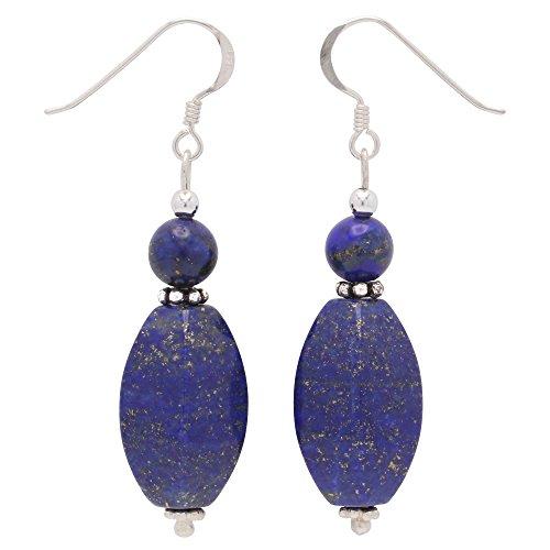 Ohrringe Ohrhänger aus echtem Lapis-Lazuli & 925 Silber blau Ohrschmuck Damen