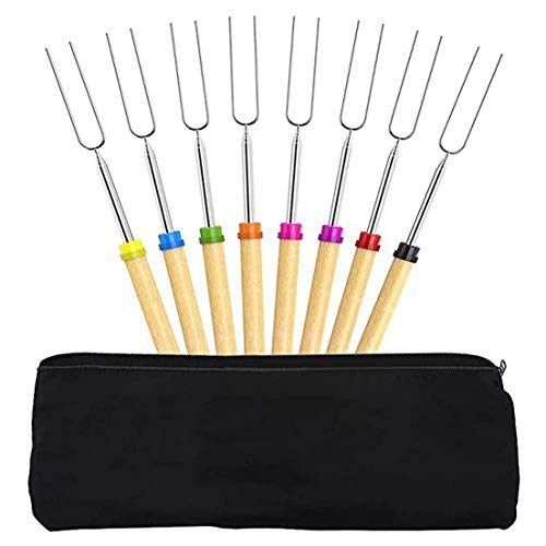 BiaBai 8 PCS Fork Essential Tube Retractable Color Wooden Handle Barbecue for Home Travel