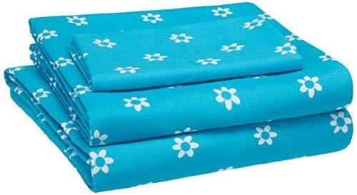 AmazonBasics Kid's Sheet Set - Soft, Easy-Wash Microfiber - Twin, Blue Flowers