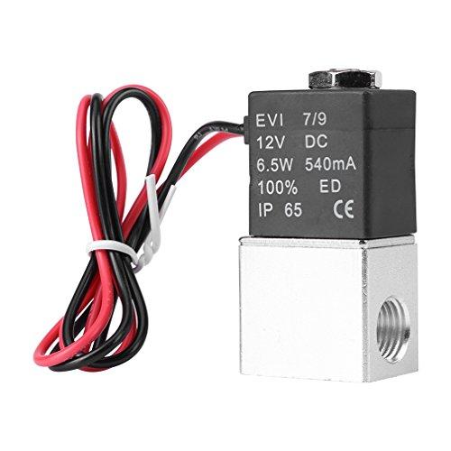 Válvula de aire de solenoide neumática de aluminio neumática normalmente cerrada de 1/4 pulgadas DC 12 V 2