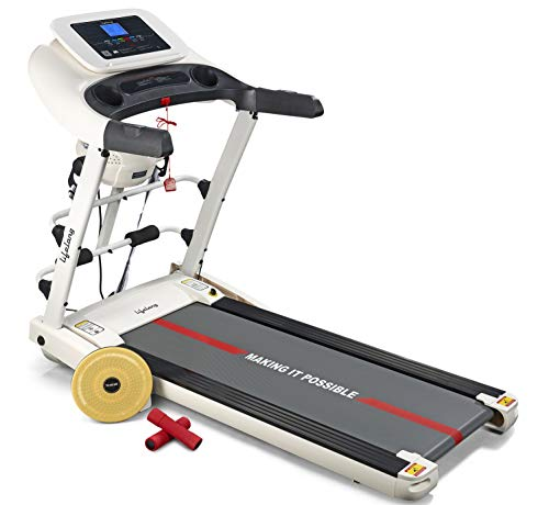 Lifelong LLTM63 4HP FitPro Multi Function Treadmill with Massager, Dumbbells, Tummy Twister and Sit-up Stand for Home Workouts...