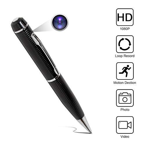 Spy Camera Pen Monkiaim HD 1080P tragbar Hidden Kameras Mini Pocket Konverter Kamera Audio und Video Recorder mit Fotoaufnahme für Geschäftskonferenzen und Sicherheit