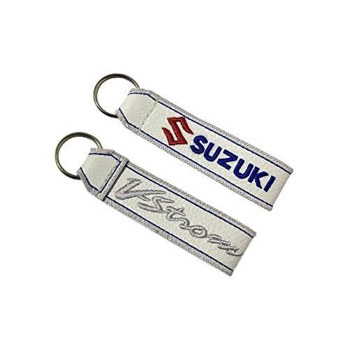 Suzuki V-Strom cord/ón Llavero Doble Cara Blanco