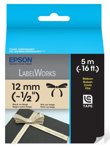 Epson LabelWorks Ribbon LC Cartridge 1/2-Inch Black on Beige (LC-4JBK5)