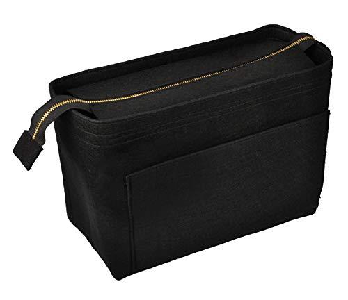 Vercord Felt Zipper Handbag Tote Purse Duffel Backpack Organizer Insert Black Large