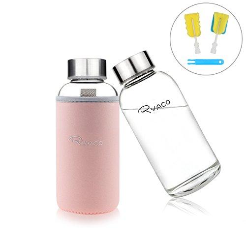 Ryaco Glasflasche Trinkflasche Classic Tragbare 360ml BPA-frei für unterwegs Sportflasche Glas Wasserflasche zum Mitnehmen von kalten Getränken mit Neopren Tasche und Schwammbürste (Rosa, 360ml)
